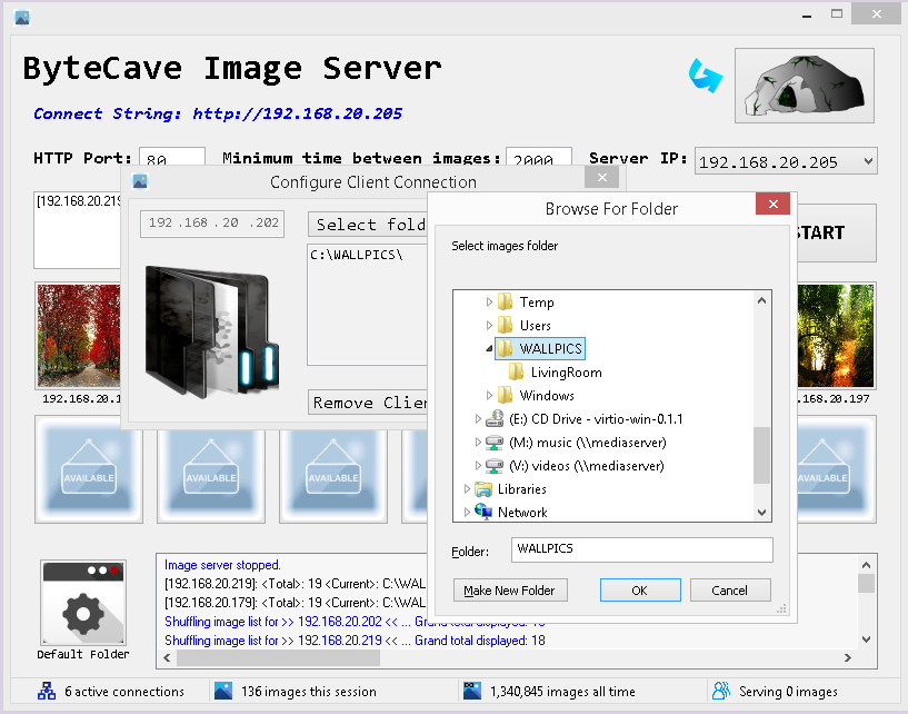 ByteCave Image Server Configuration UI