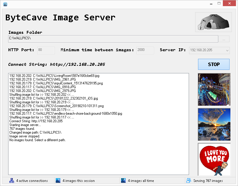 ByteCave Image Server v1 Main UI