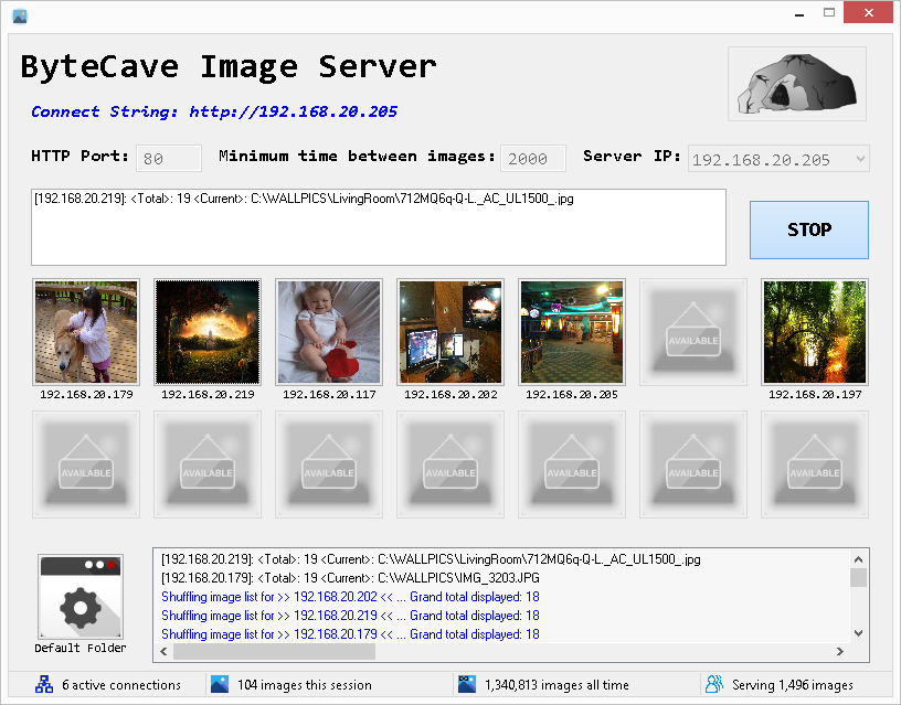 ByteCave Image Server Main UI